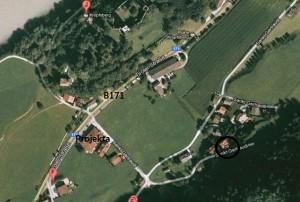 Luftaufnahme des Anfahrtsweges